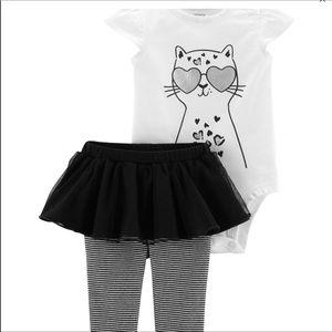 Carters 3 Piece Cat Bodysuit Tutu Pant Set NEW